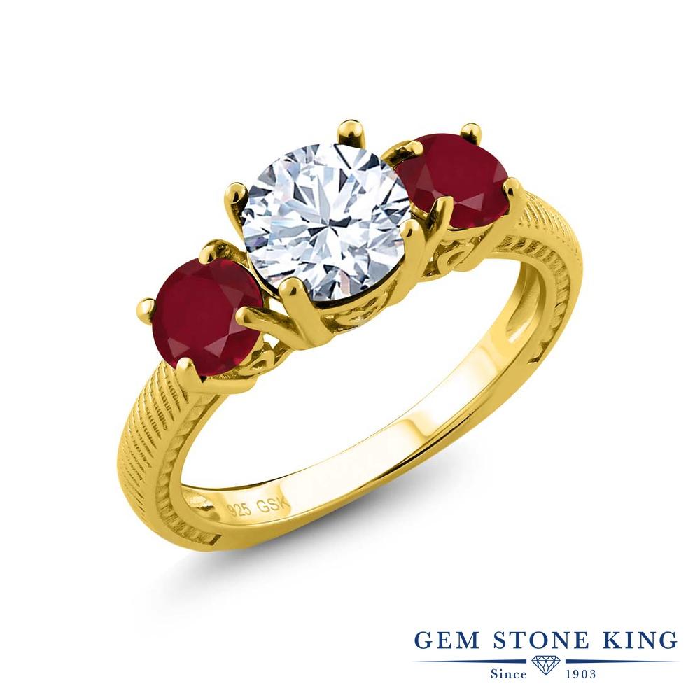 Gem Stone King 2.5カラット 天然 トパーズ (無色透明) 天然 ルビー シルバー925 イエローゴールドコーティング 指輪 リング レディース 大粒 シンプル スリーストーン 天然石 11月 誕生石 金属アレルギー対応 誕生日プレゼント