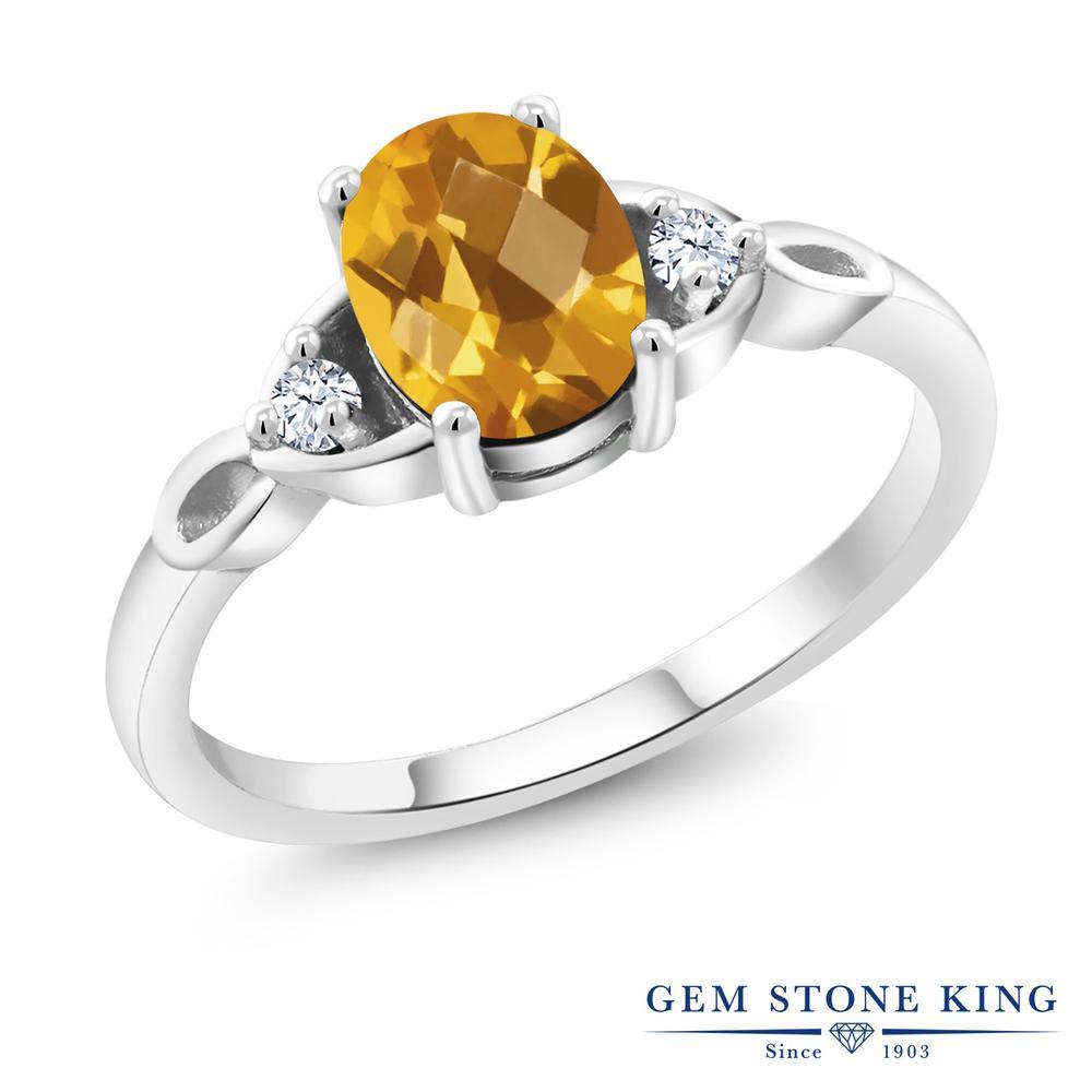 1.31カラット 天然 シトリン 指輪 レディース リング シルバー925 ブランド おしゃれ 黄色 大粒 シンプル スリーストーン 天然石 11月 誕生石 金属アレルギー対応