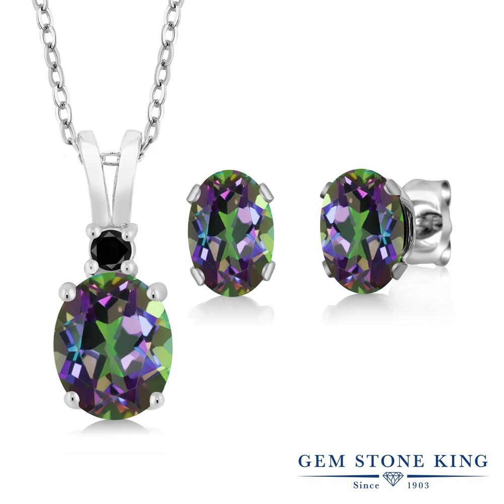 Gem Stone King 3.57カラット 天然石 ミスティックトパーズ(グリーン) 天然ブラックダイヤモンド シルバー925 天然ブラックダイヤモンド ペンダント&ピアスセット レディース 大粒 天然石 誕生日プレゼント