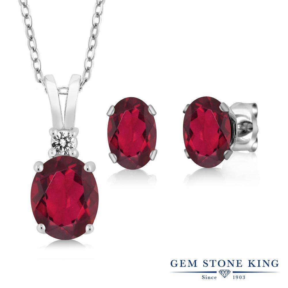 Gem Stone King 2.97カラット 天然 ミスティックトパーズ (ルビーレッド) 天然 ダイヤモンド シルバー925 ペンダント&ピアスセット レディース 大粒 天然石 金属アレルギー対応 誕生日プレゼント