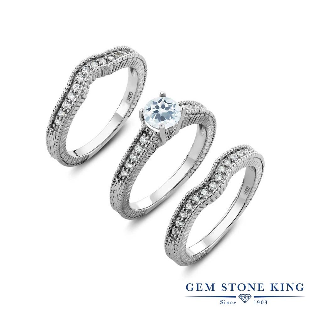 Gem Stone King 1.29カラット 天然 アクアマリン 指輪 リング レディース シルバー925 天然石 3月 誕生石 金属アレルギー対応