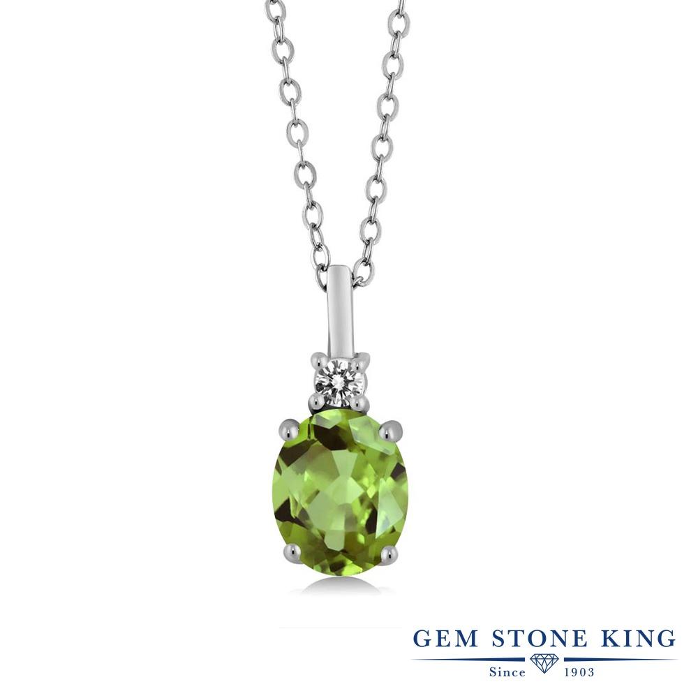 【クーポンで7%OFF】 Gem Stone King 1.42カラット 天然石 ペリドット 天然 ダイヤモンド シルバー925 ネックレス ペンダント レディース 大粒 シンプル 8月 誕生石 プレゼント 女性 彼女 誕生日 クリスマス
