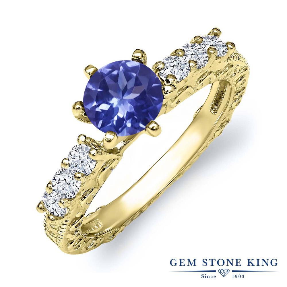 Gem Stone King 1.12カラット シルバー925 イエローゴールドコーティング 指輪 リング レディース 天然石 金属アレルギー対応 誕生日プレゼント