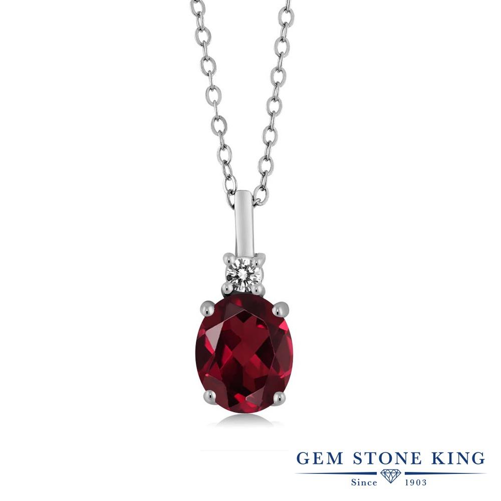 Gem Stone King 2.27カラット 天然 ロードライトガーネット 天然 ダイヤモンド シルバー925 ネックレス ペンダント レディース 大粒 シンプル 天然石 金属アレルギー対応 誕生日プレゼント