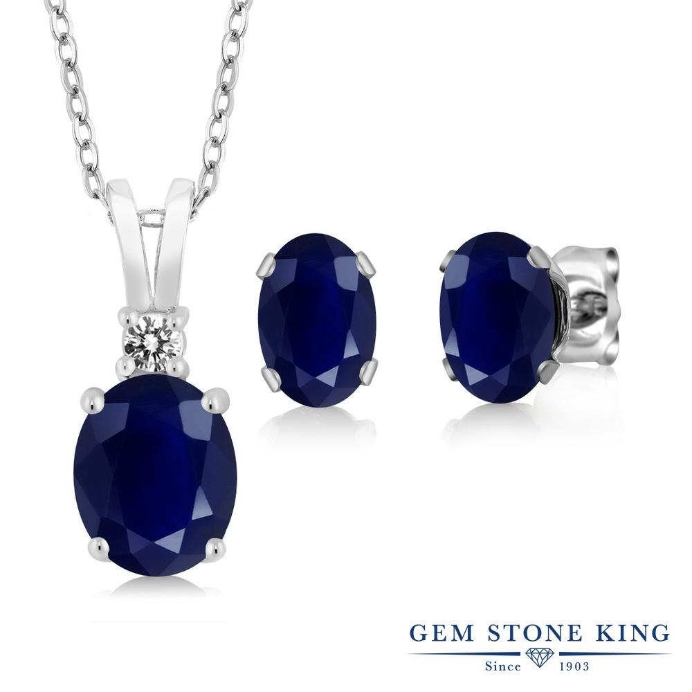【クーポンで7%OFF】 Gem Stone King 3.87カラット 天然 サファイア 天然 ダイヤモンド シルバー925 ペンダント&ピアスセット レディース 大粒 天然石 9月 誕生石 プレゼント 女性 彼女 誕生日 クリスマス
