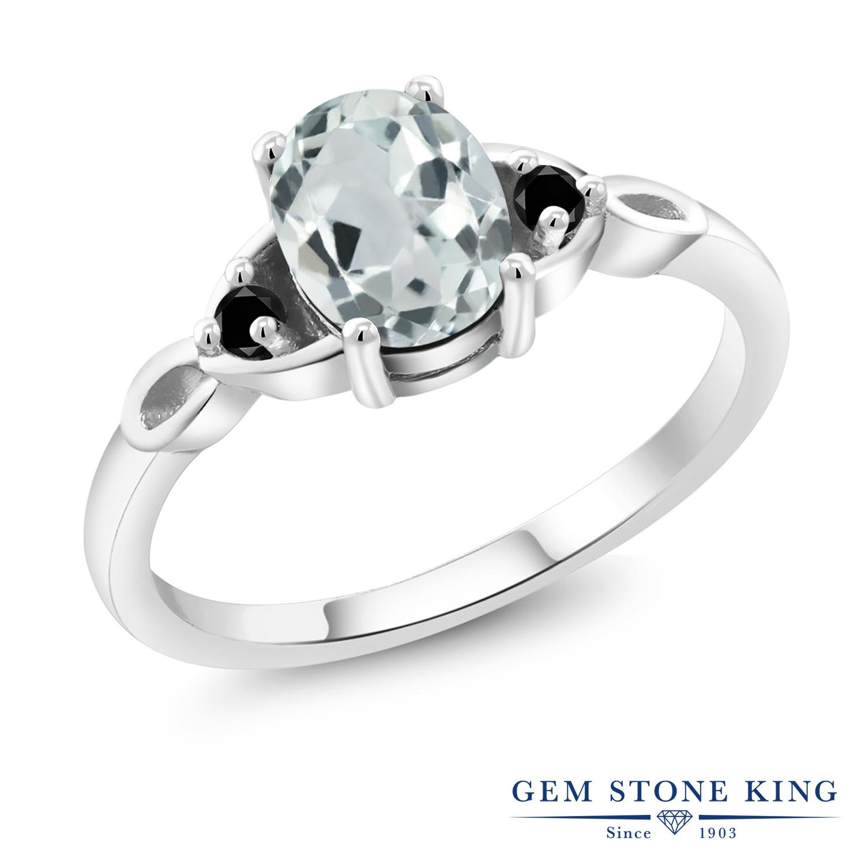 Gem Stone King 1.19カラット 天然 アクアマリン 天然ブラックダイヤモンド シルバー925 指輪 リング レディース 大粒 シンプル スリーストーン 天然石 3月 誕生石 金属アレルギー対応 誕生日プレゼント