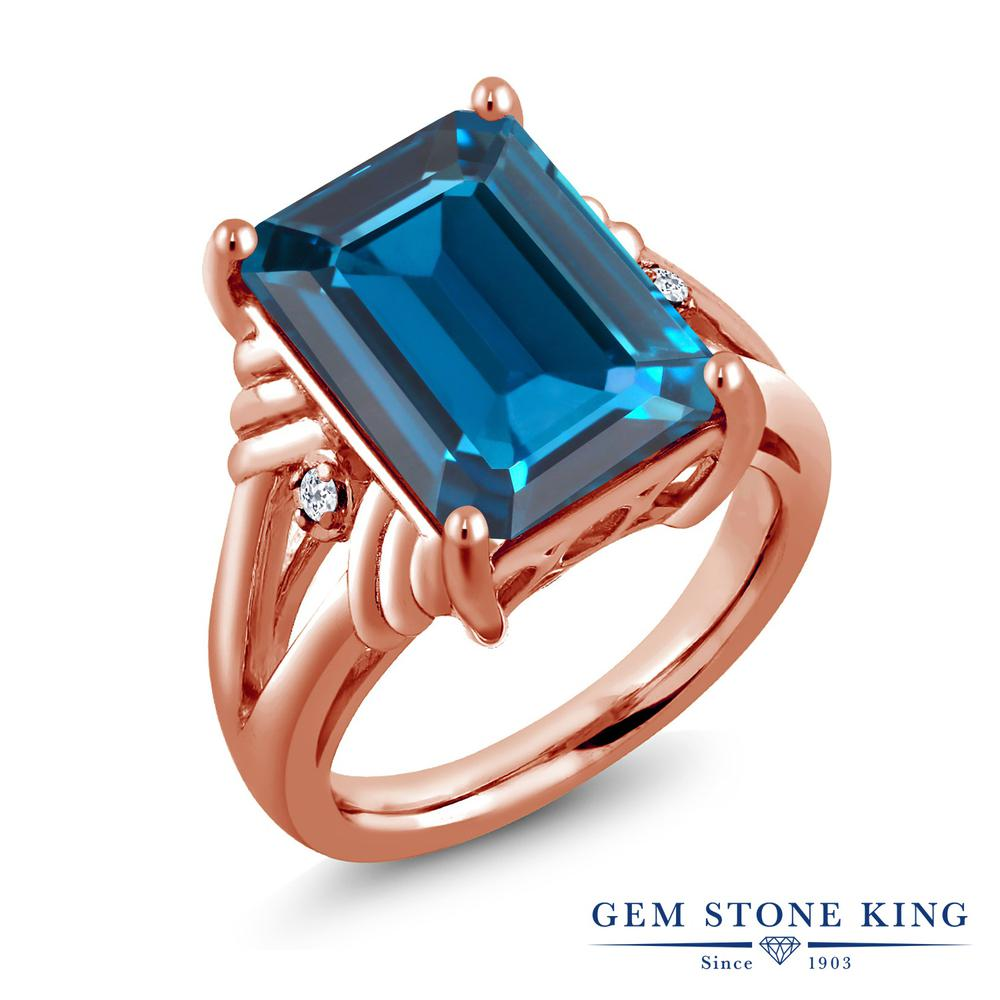 Gem Stone King 9.04カラット 天然 ロンドンブルートパーズ 天然 トパーズ (無色透明) シルバー925 ピンクゴールドコーティング 指輪 リング レディース 大粒 シンプル カクテル 天然石 11月 誕生石 金属アレルギー対応 誕生日プレゼント
