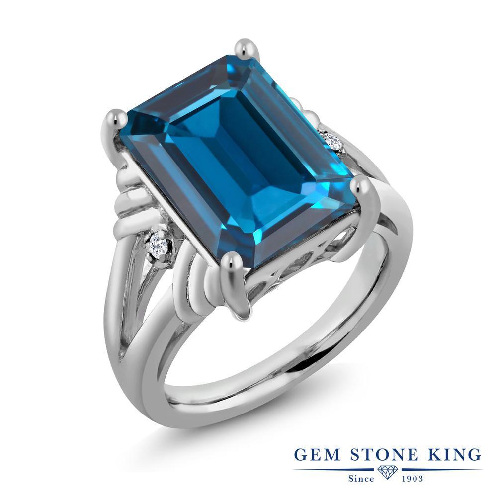 Gem Stone King 9.04カラット 天然 ロンドンブルートパーズ 天然 トパーズ (無色透明) シルバー925 指輪 リング レディース 大粒 シンプル カクテル 天然石 11月 誕生石 金属アレルギー対応 誕生日プレゼント