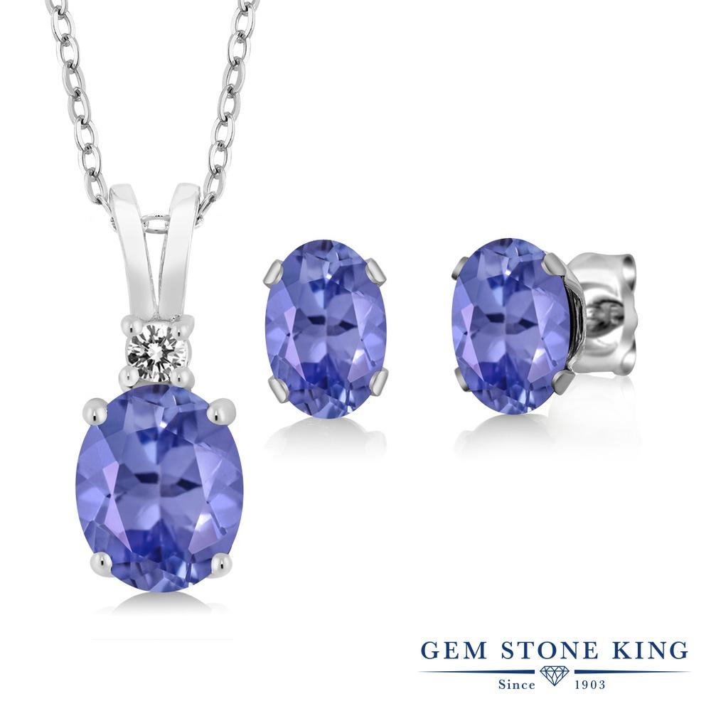 Gem Stone King 2.73カラット 天然石 タンザナイト 天然 ダイヤモンド シルバー925 ペンダント&ピアスセット レディース 大粒 天然石 12月 誕生石 金属アレルギー対応 誕生日プレゼント