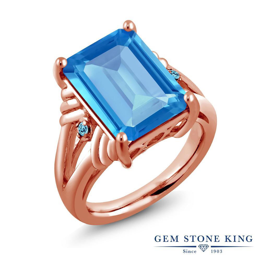 Gem Stone King 9.29カラット 天然 スイスブルートパーズ シルバー925 ピンクゴールドコーティング 指輪 リング レディース 大粒 シンプル カクテル 天然石 11月 誕生石 金属アレルギー対応 誕生日プレゼント