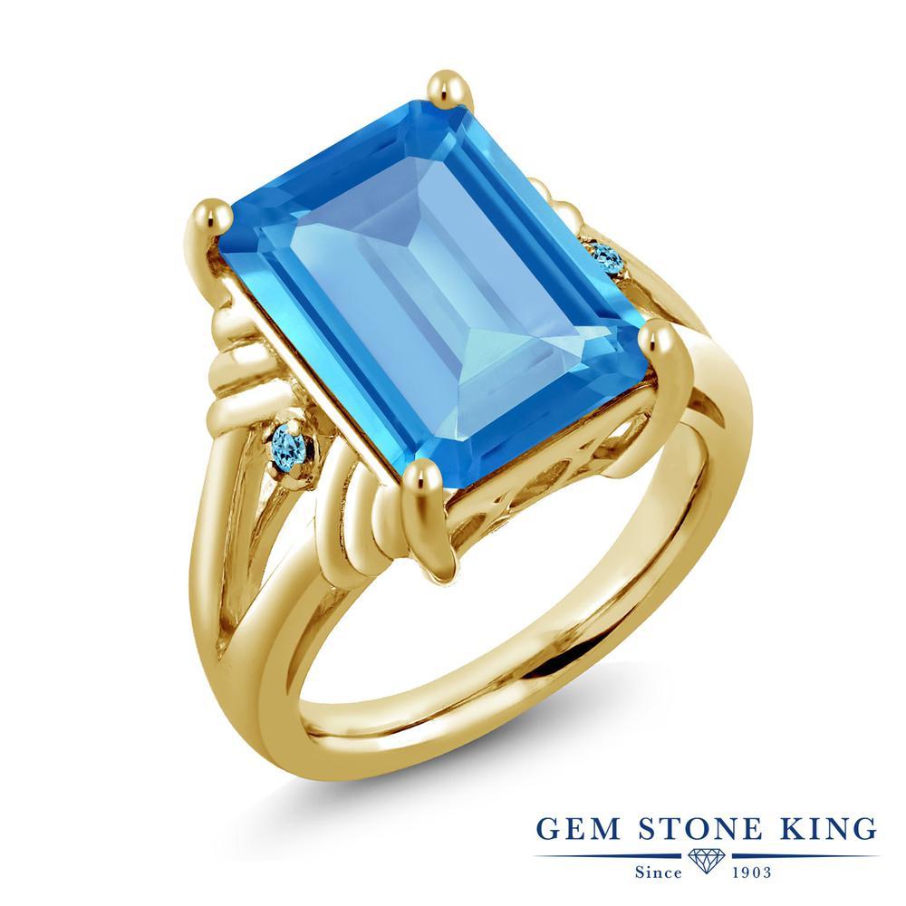 Gem Stone King 9.29カラット 天然 スイスブルートパーズ シルバー925 イエローゴールドコーティング 指輪 リング レディース 大粒 シンプル カクテル 天然石 11月 誕生石 金属アレルギー対応 誕生日プレゼント