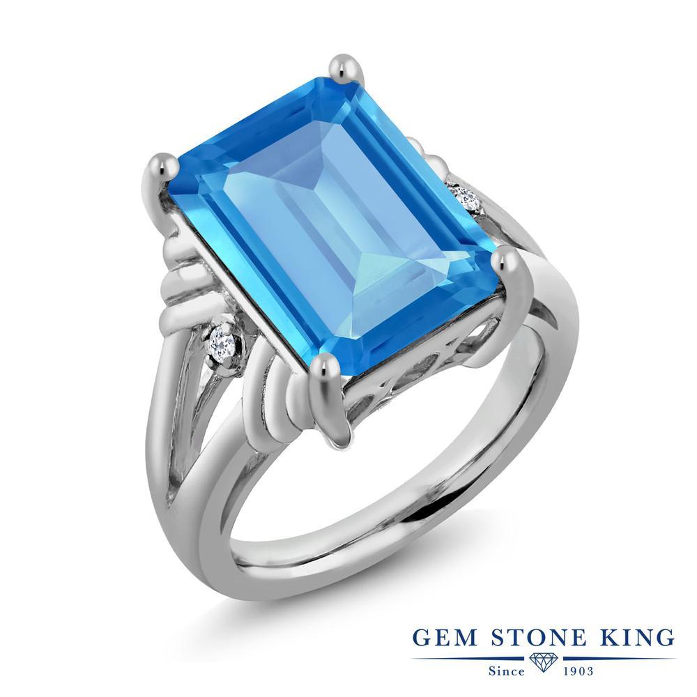 Gem Stone King 9.29カラット 天然 スイスブルートパーズ 天然 トパーズ (無色透明) シルバー925 指輪 リング レディース 大粒 シンプル カクテル 天然石 11月 誕生石 金属アレルギー対応 誕生日プレゼント