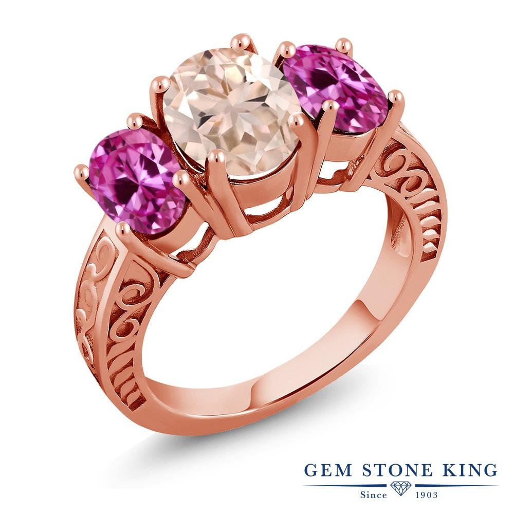 Gem Stone King 3.4カラット 天然 モルガナイト (ピーチ) 合成ピンクサファイア シルバー925 ピンクゴールドコーティング 指輪 リング レディース 大粒 シンプル スリーストーン 天然石 3月 誕生石 金属アレルギー対応 誕生日プレゼント