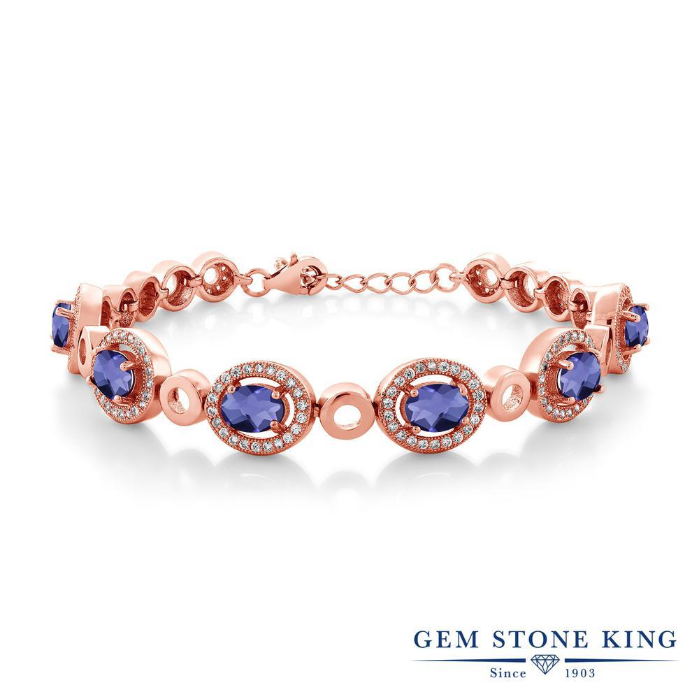 Gem Stone King 5.82カラット 天然 アイオライト (ブルー) シルバー925 ピンクゴールドコーティング ブレスレット テニスブレスレット レディース 大ぶり 天然石 金属アレルギー対応 誕生日プレゼント