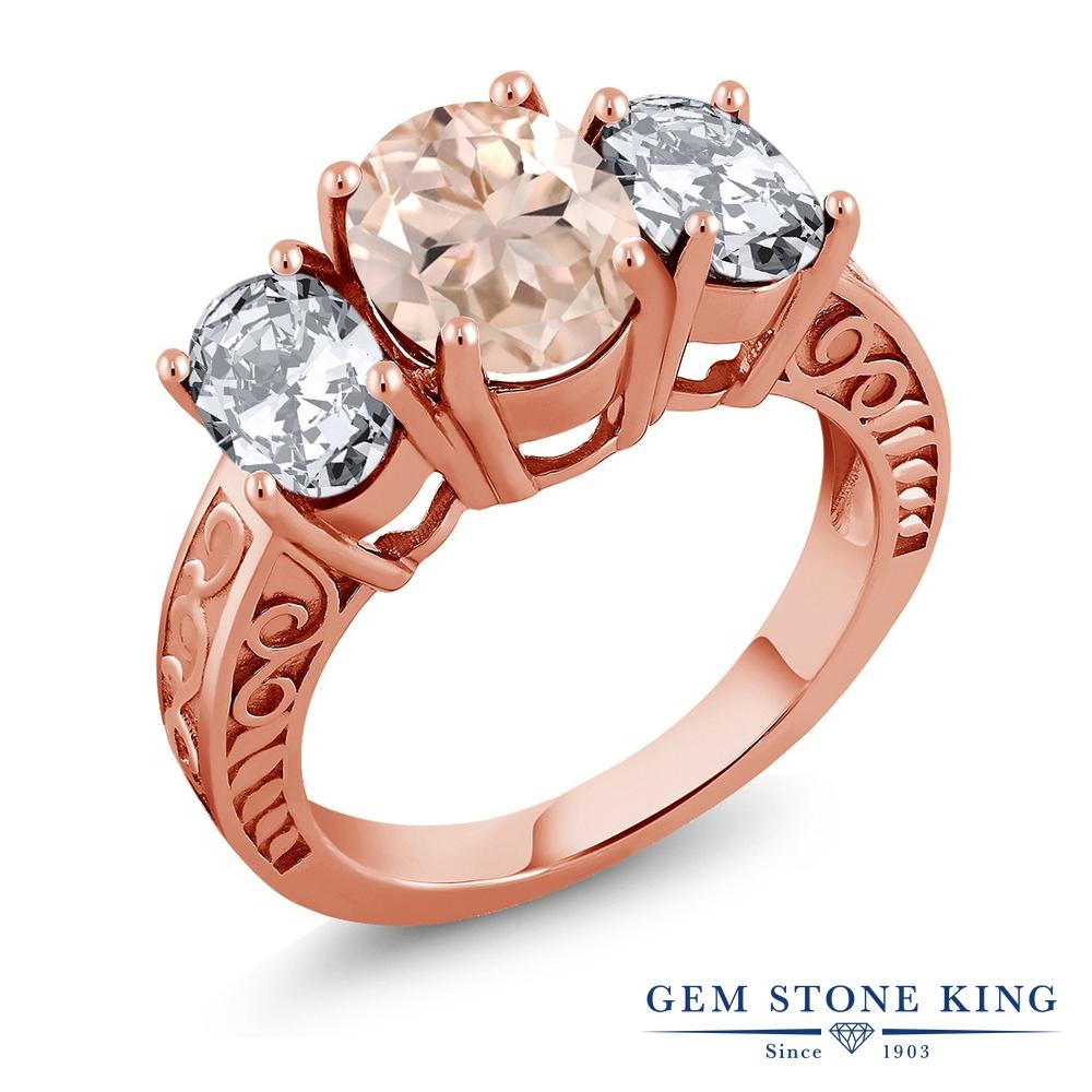 Gem Stone King 4.6カラット 天然 モルガナイト (ピーチ) シルバー925 ピンクゴールドコーティング 指輪 リング レディース 大粒 シンプル スリーストーン 天然石 3月 誕生石 金属アレルギー対応 誕生日プレゼント