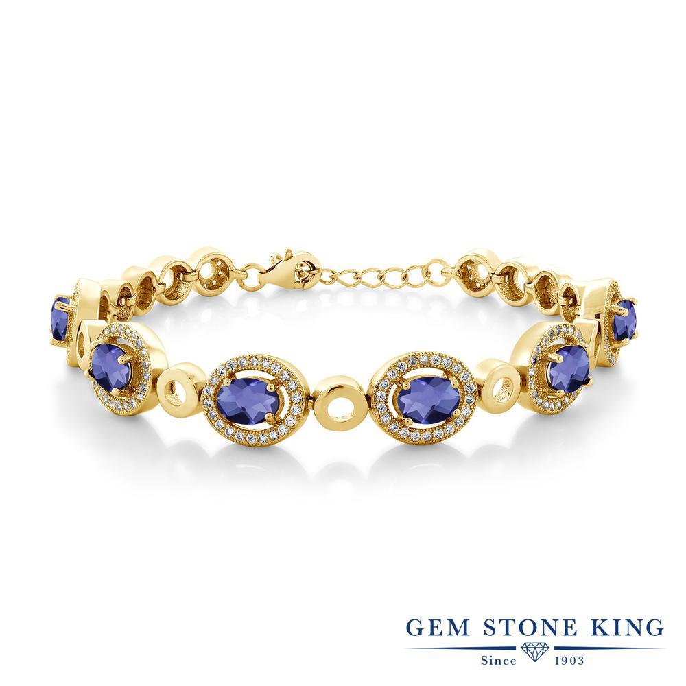 Gem Stone King 5.82カラット 天然 アイオライト (ブルー) シルバー925 イエローゴールドコーティング ブレスレット テニスブレスレット レディース 大ぶり 天然石 金属アレルギー対応 誕生日プレゼント