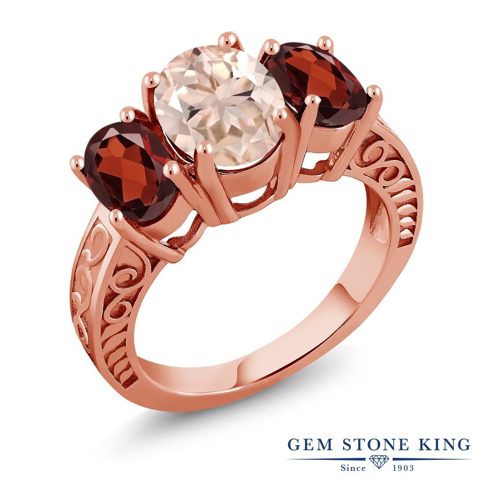 Gem Stone King 3.4カラット 天然 モルガナイト (ピーチ) 天然 ガーネット シルバー925 ピンクゴールドコーティング 指輪 リング レディース 大粒 シンプル スリーストーン 天然石 3月 誕生石 金属アレルギー対応 誕生日プレゼント