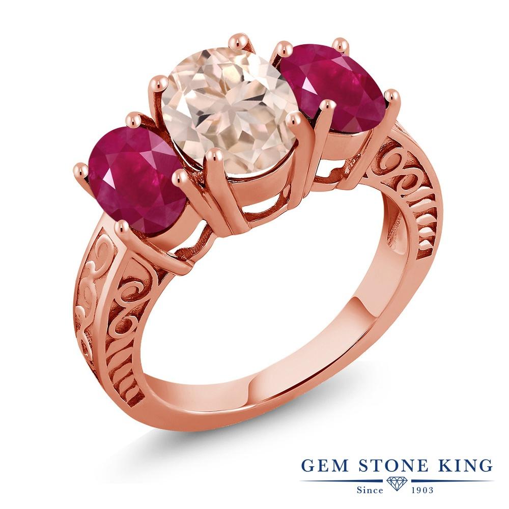 【クーポンで10%OFF】 Gem Stone King 3.64カラット 天然 モルガナイト (ピーチ) 天然 ルビー シルバー925 ピンクゴールドコーティング 指輪 リング レディース 大粒 シンプル スリーストーン 天然石 3月 誕生石 金属アレルギー対応 誕生日プレゼント