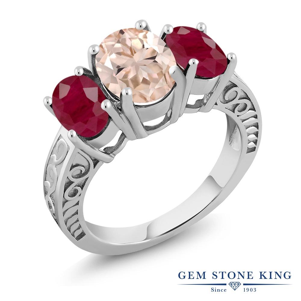 【クーポンで10%OFF】 Gem Stone King 3.64カラット 天然 モルガナイト (ピーチ) 天然 ルビー シルバー925 指輪 リング レディース 大粒 シンプル スリーストーン 天然石 3月 誕生石 金属アレルギー対応 誕生日プレゼント