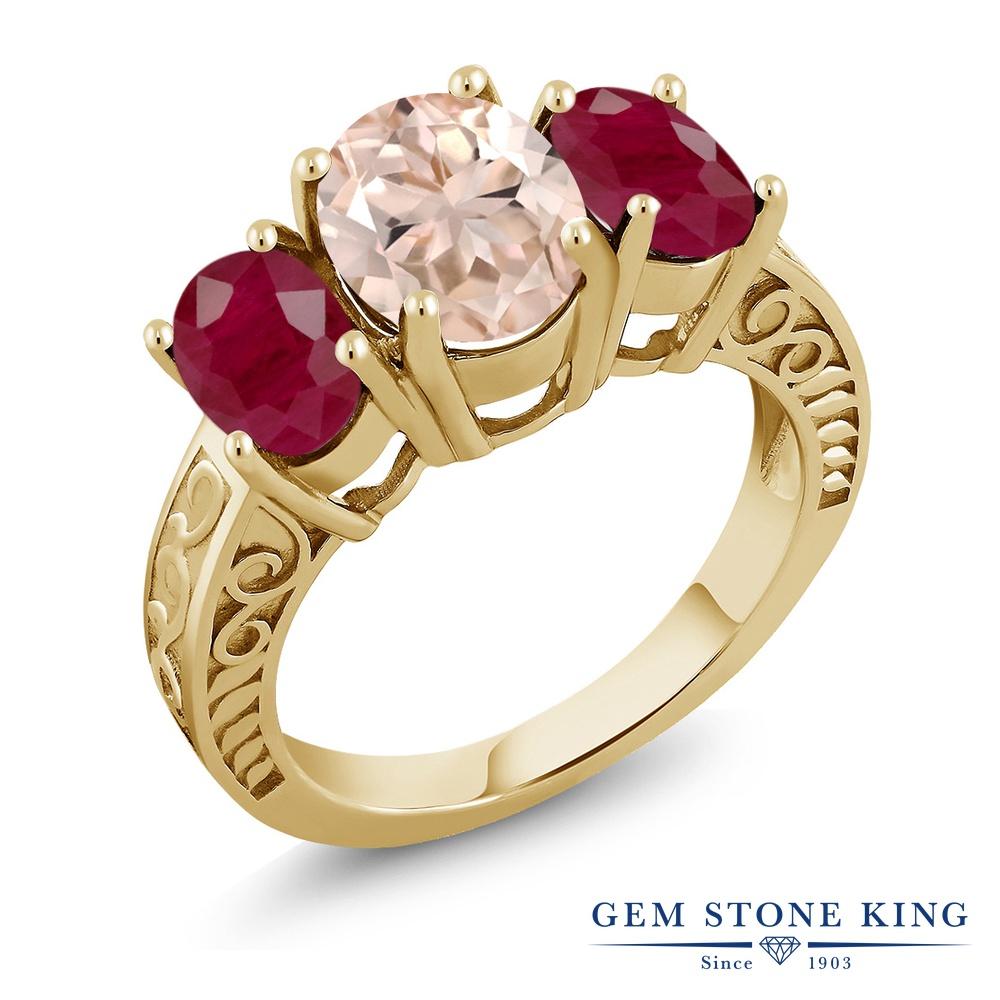【クーポンで10%OFF】 Gem Stone King 3.64カラット 天然 モルガナイト (ピーチ) 天然 ルビー シルバー925 イエローゴールドコーティング 指輪 リング レディース 大粒 シンプル スリーストーン 天然石 3月 誕生石 金属アレルギー対応 誕生日プレゼント