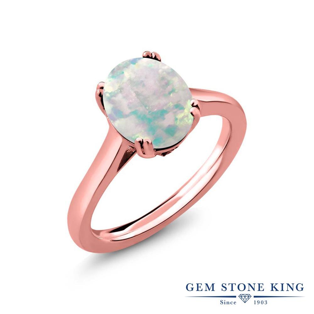 Gem Stone King 2.03カラット シミュレイテッド ホワイトオパール 天然 ダイヤモンド シルバー925 ピンクゴールドコーティング 指輪 リング レディース 大粒 シンプル ソリティア 10月 誕生石 金属アレルギー対応 誕生日プレゼント