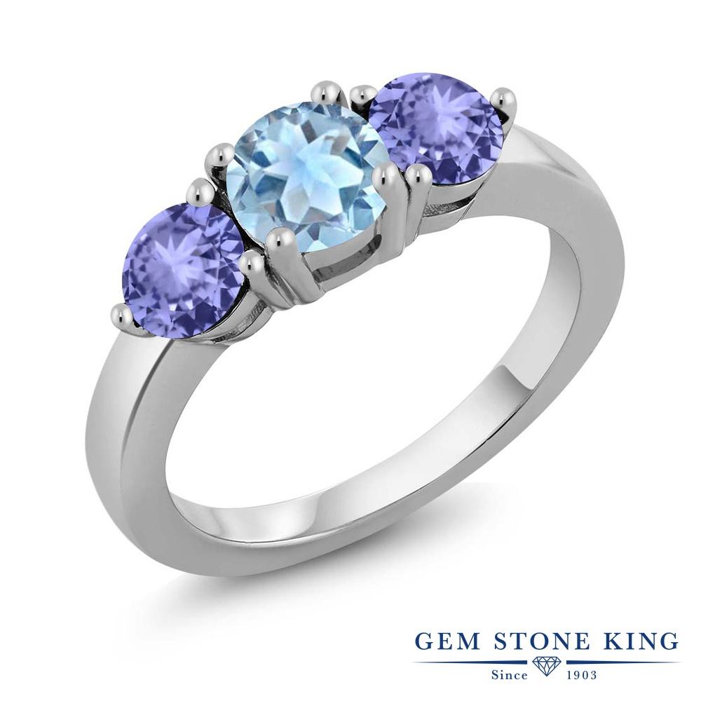 Gem Stone King 2.11カラット 天然 スカイブルートパーズ 天然石 タンザナイト 指輪 リング レディース シルバー925 大粒 シンプル スリーストーン 11月 誕生石 金属アレルギー対応