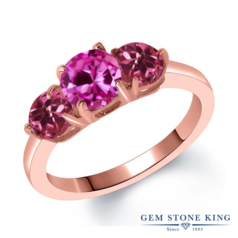 Gem Stone King 2カラット 合成ピンクサファイア 天然 ピンクトルマリン シルバー925 ピンクゴールドコーティング 指輪 リング レディース 大粒 シンプル スリーストーン 金属アレルギー対応 誕生日プレゼント