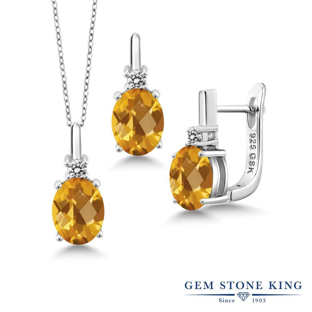 Gem Stone King 4.87カラット 天然シトリン シルバー925 天然ダイヤモンド ペンダント&ピアスセット レディース 大粒 天然石 誕生石 誕生日プレゼント