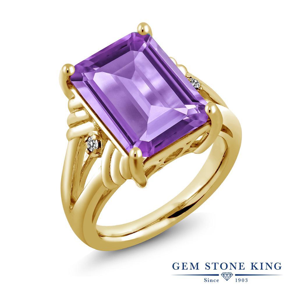 Gem Stone King 7.03カラット 天然 アメジスト 天然 ダイヤモンド シルバー925 イエローゴールドコーティング 指輪 リング レディース 大粒 シンプル カクテル 天然石 2月 誕生石 金属アレルギー対応 誕生日プレゼント
