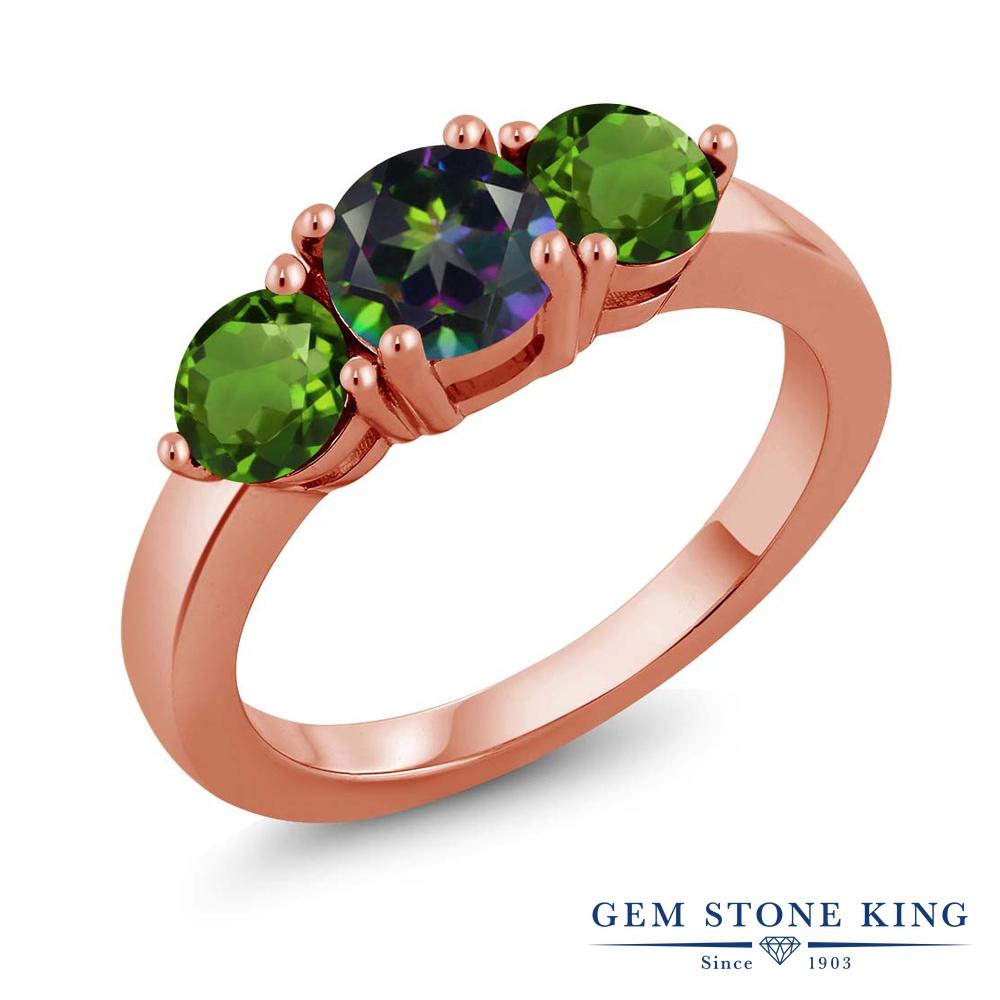 2カラット 天然石 ミスティックトパーズ (グリーン) 指輪 レディース リング 天然 クロムダイオプサイド ピンクゴールド 加工 シルバー925 ブランド おしゃれ 3連 緑 大粒 シンプル スリーストーン 金属アレルギー対応
