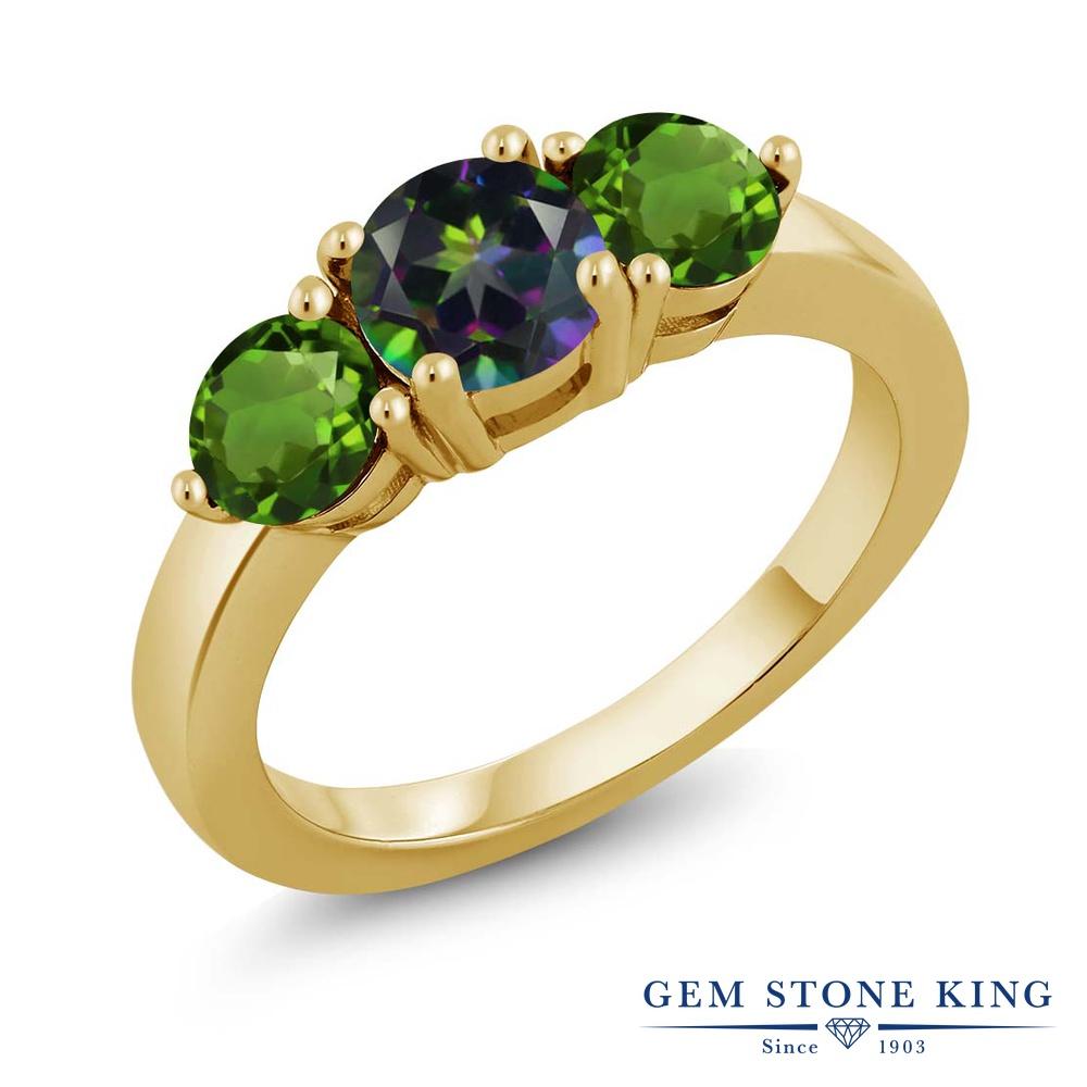 2カラット 天然石 ミスティックトパーズ (グリーン) 指輪 レディース リング 天然 クロムダイオプサイド イエローゴールド 加工 シルバー925 ブランド おしゃれ 3連 緑 大粒 シンプル スリーストーン 金属アレルギー対応