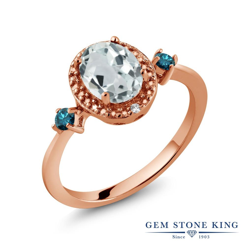 Gem Stone King 1.24カラット 天然 アクアマリン 天然 ブルーダイヤモンド シルバー925 ピンクゴールドコーティング 指輪 リング レディース 大粒 ヘイロー 天然石 3月 誕生石 金属アレルギー対応 誕生日プレゼント