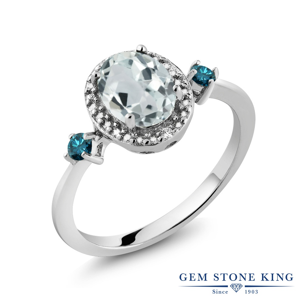 Gem Stone King 1.24カラット 天然 アクアマリン 天然 ブルーダイヤモンド シルバー925 指輪 リング レディース 大粒 ヘイロー 天然石 3月 誕生石 金属アレルギー対応 誕生日プレゼント