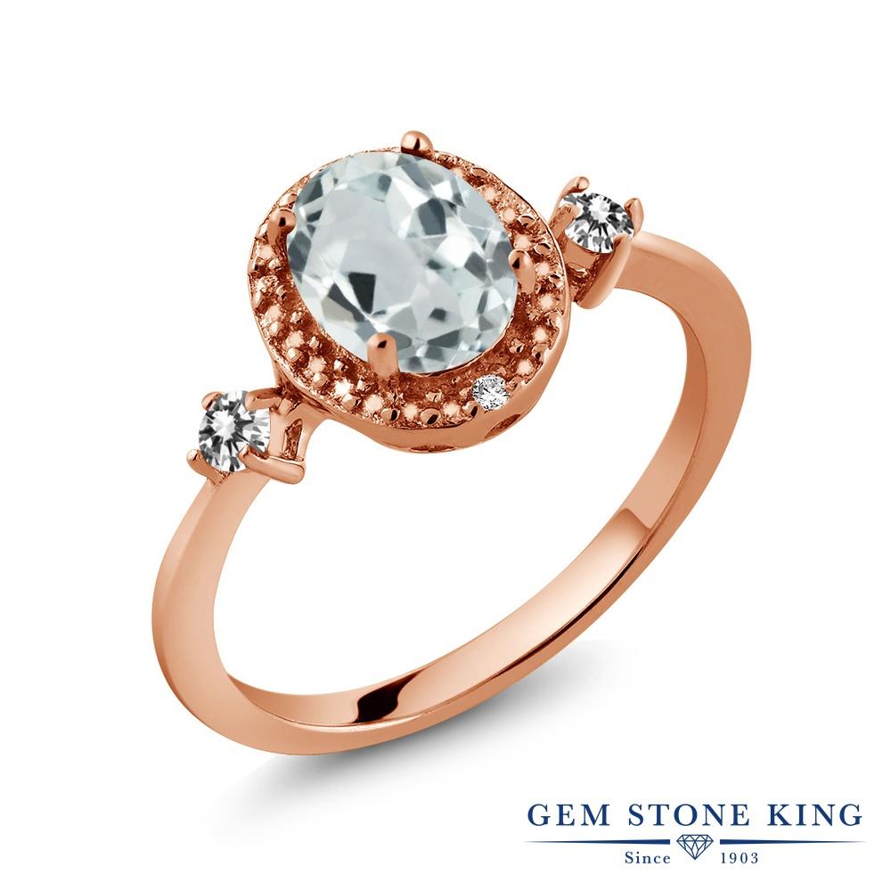 Gem Stone King 1.24カラット 天然 アクアマリン 天然 ダイヤモンド シルバー925 ピンクゴールドコーティング 指輪 リング レディース 大粒 ヘイロー 天然石 3月 誕生石 金属アレルギー対応 誕生日プレゼント