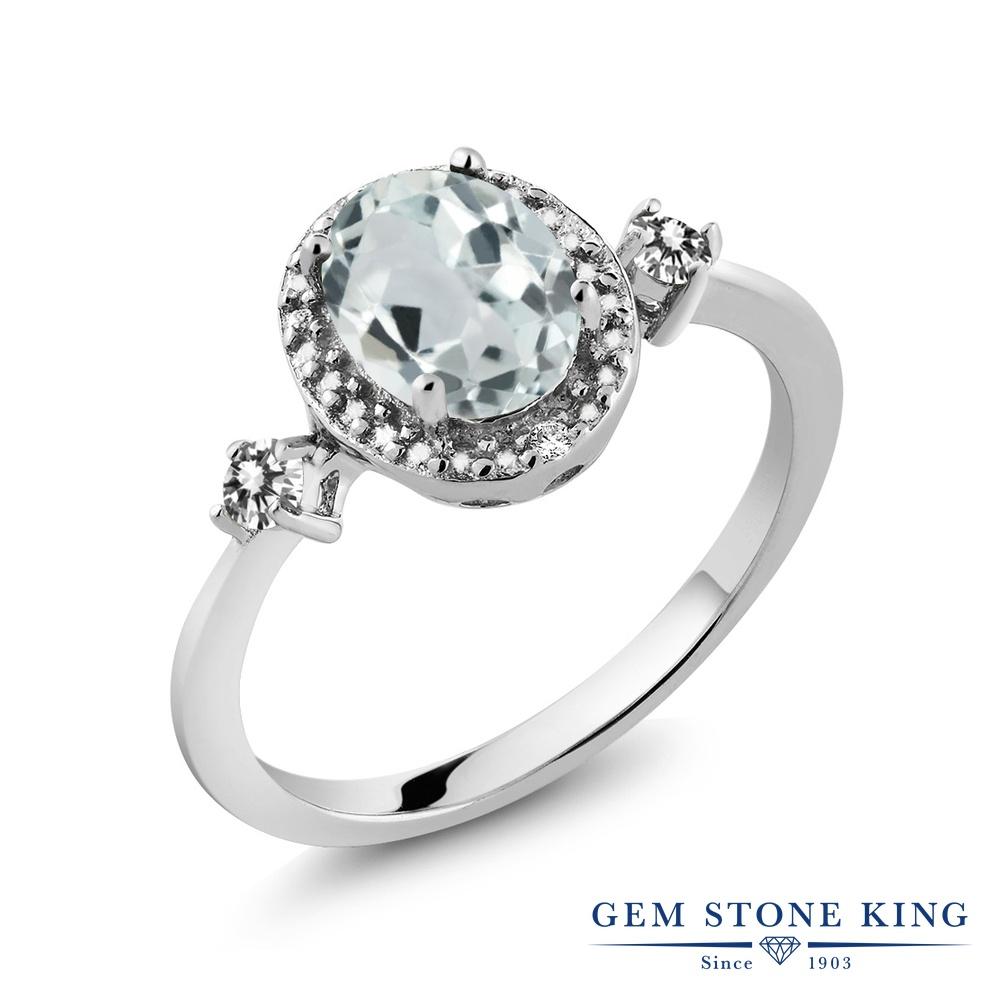 Gem Stone King 1.24カラット 天然 アクアマリン 天然 ダイヤモンド シルバー925 指輪 リング レディース 大粒 ヘイロー 天然石 3月 誕生石 金属アレルギー対応 誕生日プレゼント
