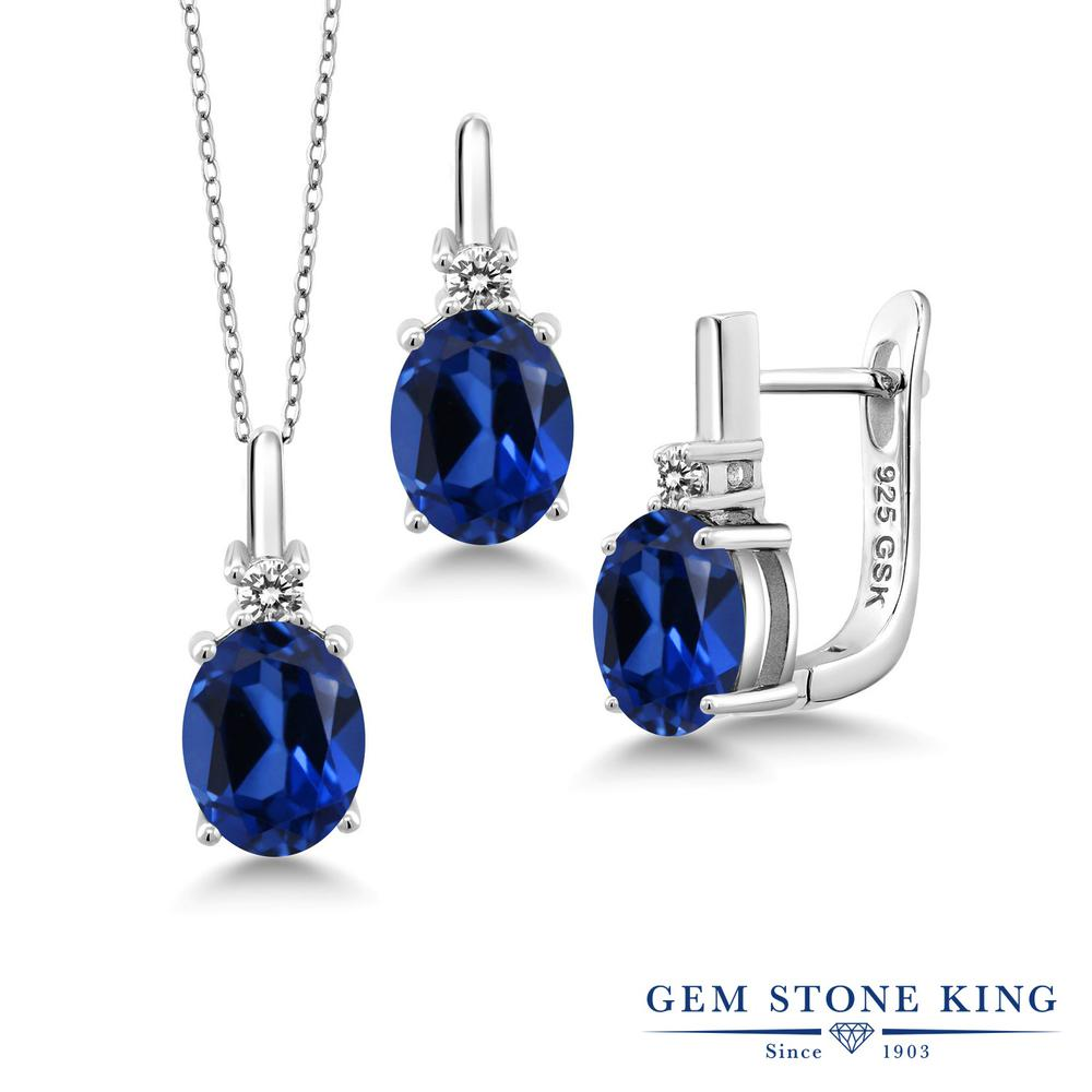 Gem Stone King 6.97カラット シミュレイテッドサファイア シルバー925 天然ダイヤモンド ペンダント&ピアスセット レディース 大粒 誕生日プレゼント
