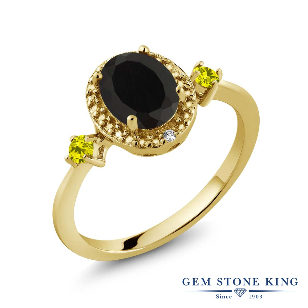 Gem Stone King 1.39カラット 天然 オニキス 天然 イエローダイヤモンド シルバー925 イエローゴールドコーティング 指輪 リング レディース 大粒 ヘイロー 天然石 8月 誕生石 金属アレルギー対応 誕生日プレゼント