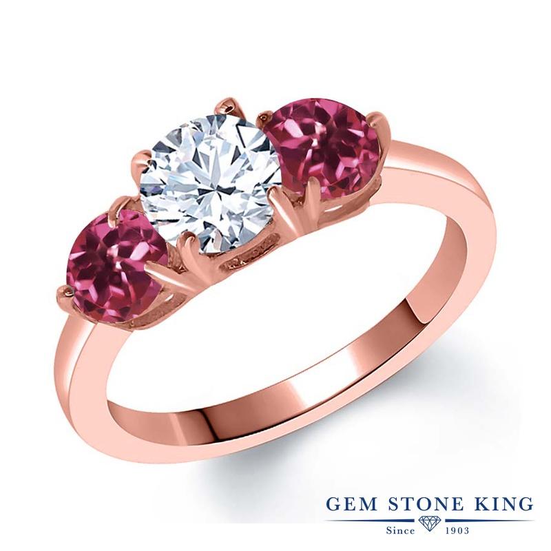 Gem Stone King 1.84カラット ジルコニア (無色透明) AAグレード 天然 ピンクトルマリン シルバー925 ピンクゴールドコーティング 指輪 リング レディース CZ シンプル スリーストーン 金属アレルギー対応 誕生日プレゼント