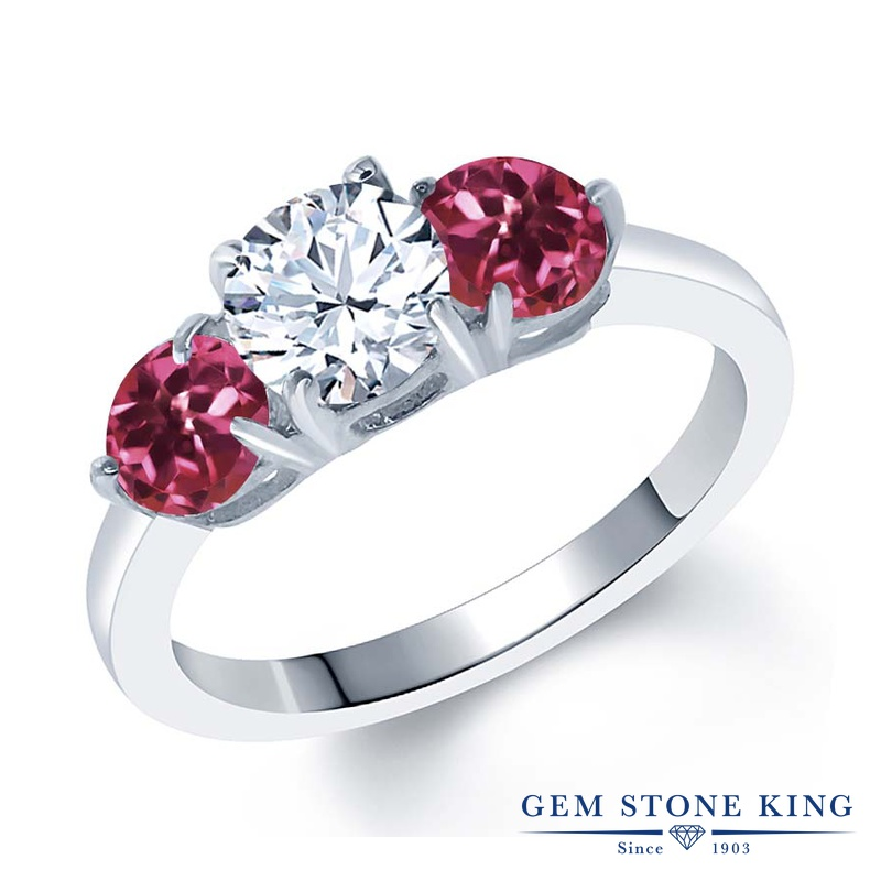 Gem Stone King 1.84カラット ジルコニア (無色透明) AAAグレード 天然 ピンクトルマリン シルバー925 指輪 リング レディース CZ シンプル スリーストーン 金属アレルギー対応 誕生日プレゼント
