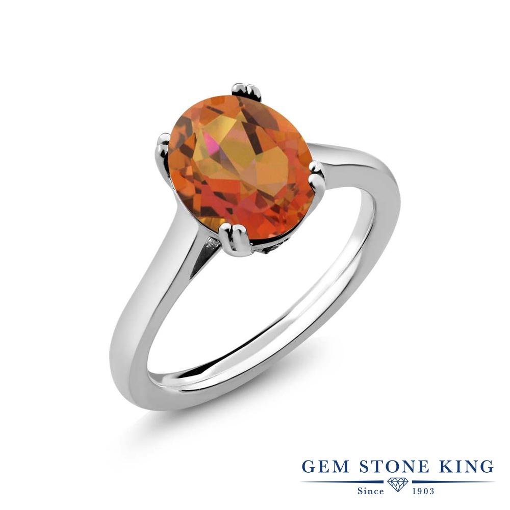 【10%OFF】 Gem Stone King 3.63カラット 天然 ミスティッククォーツ (トワイライトオレンジ) ダイヤモンド 指輪 リング レディース シルバー925 大粒 シンプル ソリティア 天然石 クリスマスプレゼント 女性 彼女 妻 誕生日