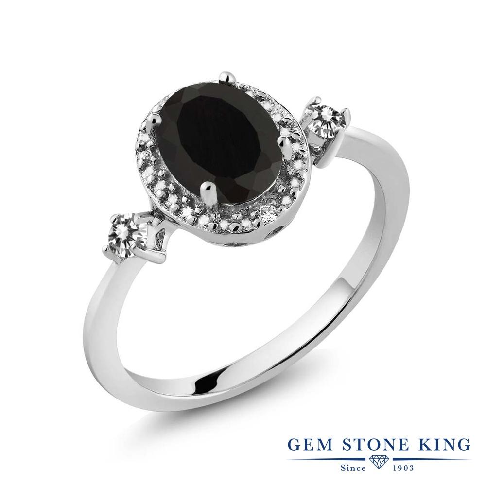 Gem Stone King 1.39カラット 天然 オニキス 天然 ダイヤモンド シルバー925 指輪 リング レディース 大粒 ヘイロー 天然石 8月 誕生石 金属アレルギー対応 誕生日プレゼント