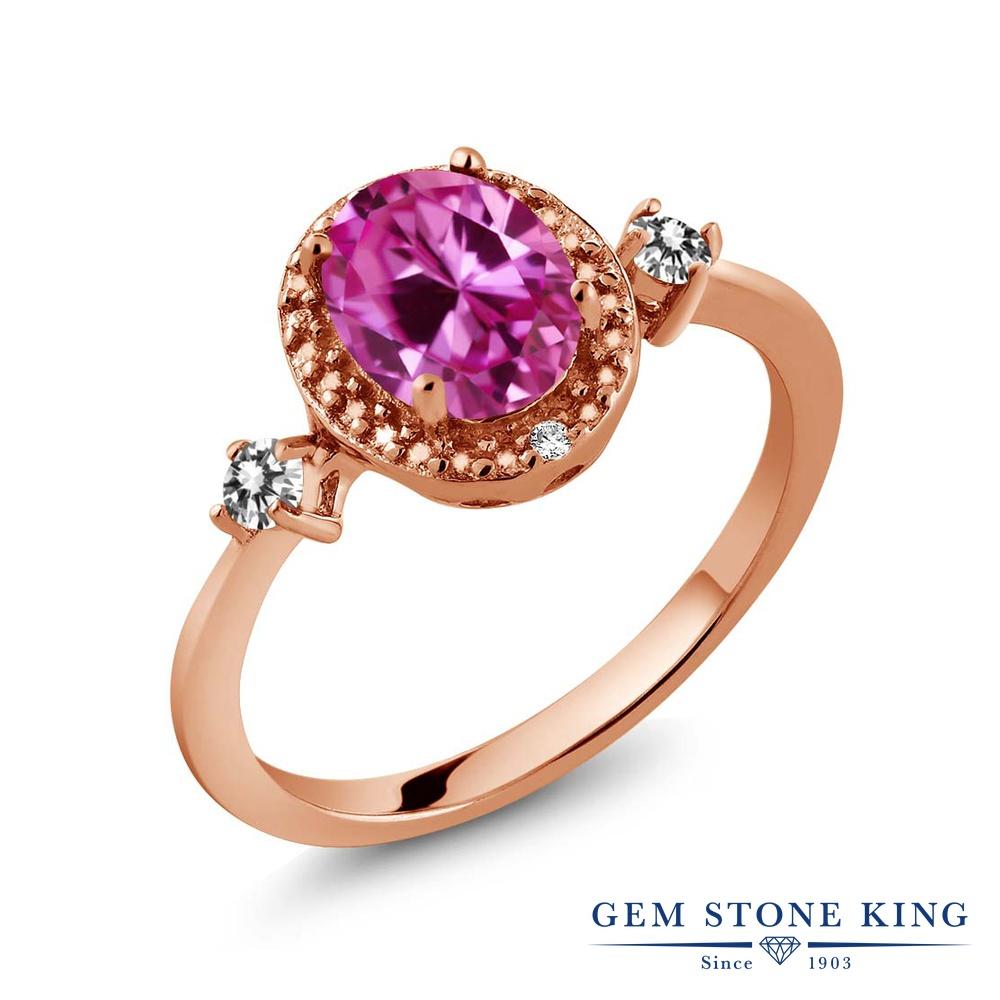 1.79カラット 合成ピンクサファイア 天然 ダイヤモンド 指輪 リング レディース シルバー925 ピンクゴールド 加工 大粒 ヘイロー プレゼント 女性 彼女 妻 誕生日