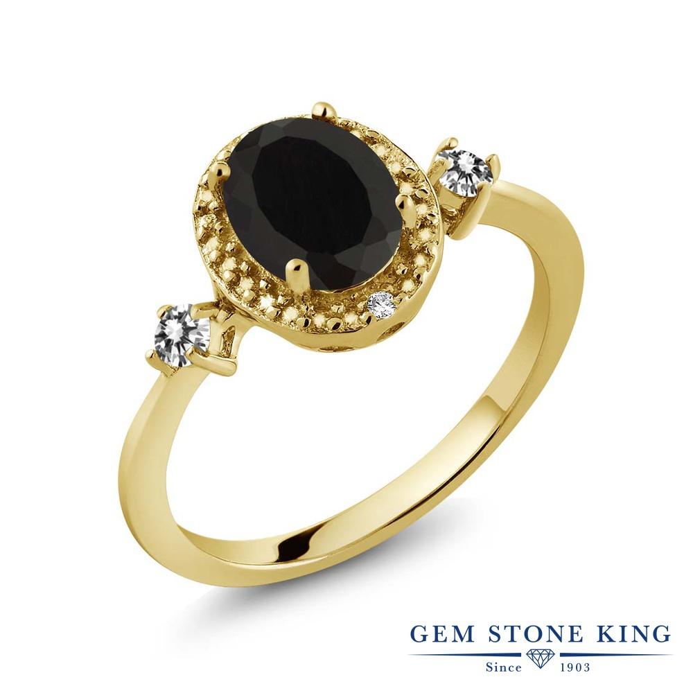 Gem Stone King 1.39カラット 天然 オニキス 天然 ダイヤモンド シルバー925 イエローゴールドコーティング 指輪 リング レディース 大粒 ヘイロー 天然石 8月 誕生石 金属アレルギー対応 誕生日プレゼント