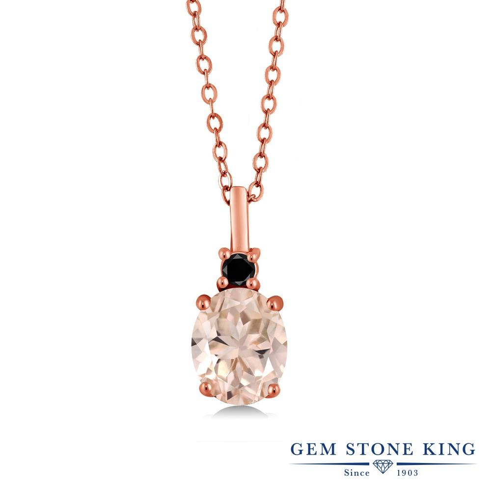 Gem Stone King 1.67カラット 天然 モルガナイト (ピーチ) 天然ブラックダイヤモンド シルバー925 ピンクゴールドコーティング ネックレス ペンダント レディース 大粒 シンプル 天然石 3月 誕生石 金属アレルギー対応 誕生日プレゼント