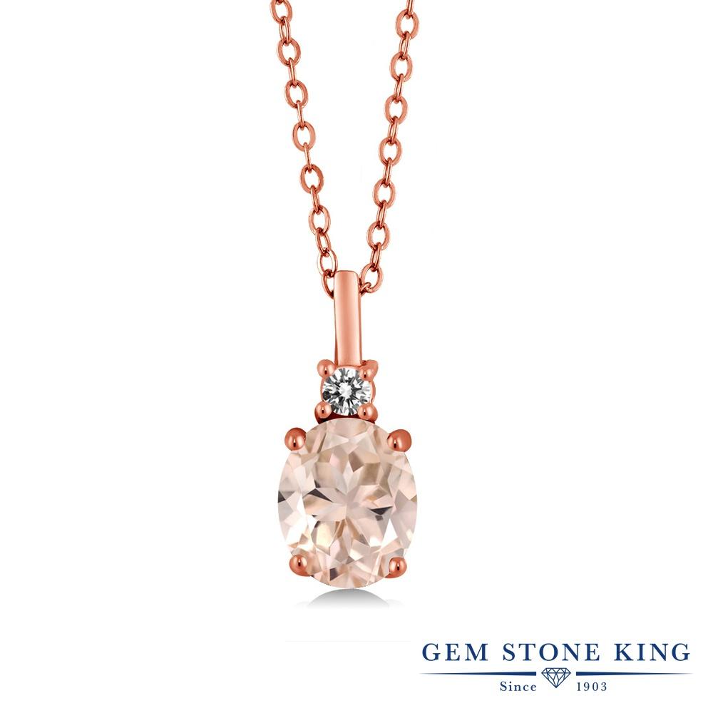 Gem Stone King 1.67カラット 天然 モルガナイト (ピーチ) 天然 ダイヤモンド シルバー925 ピンクゴールドコーティング ネックレス ペンダント レディース 大粒 シンプル 天然石 3月 誕生石 金属アレルギー対応 誕生日プレゼント