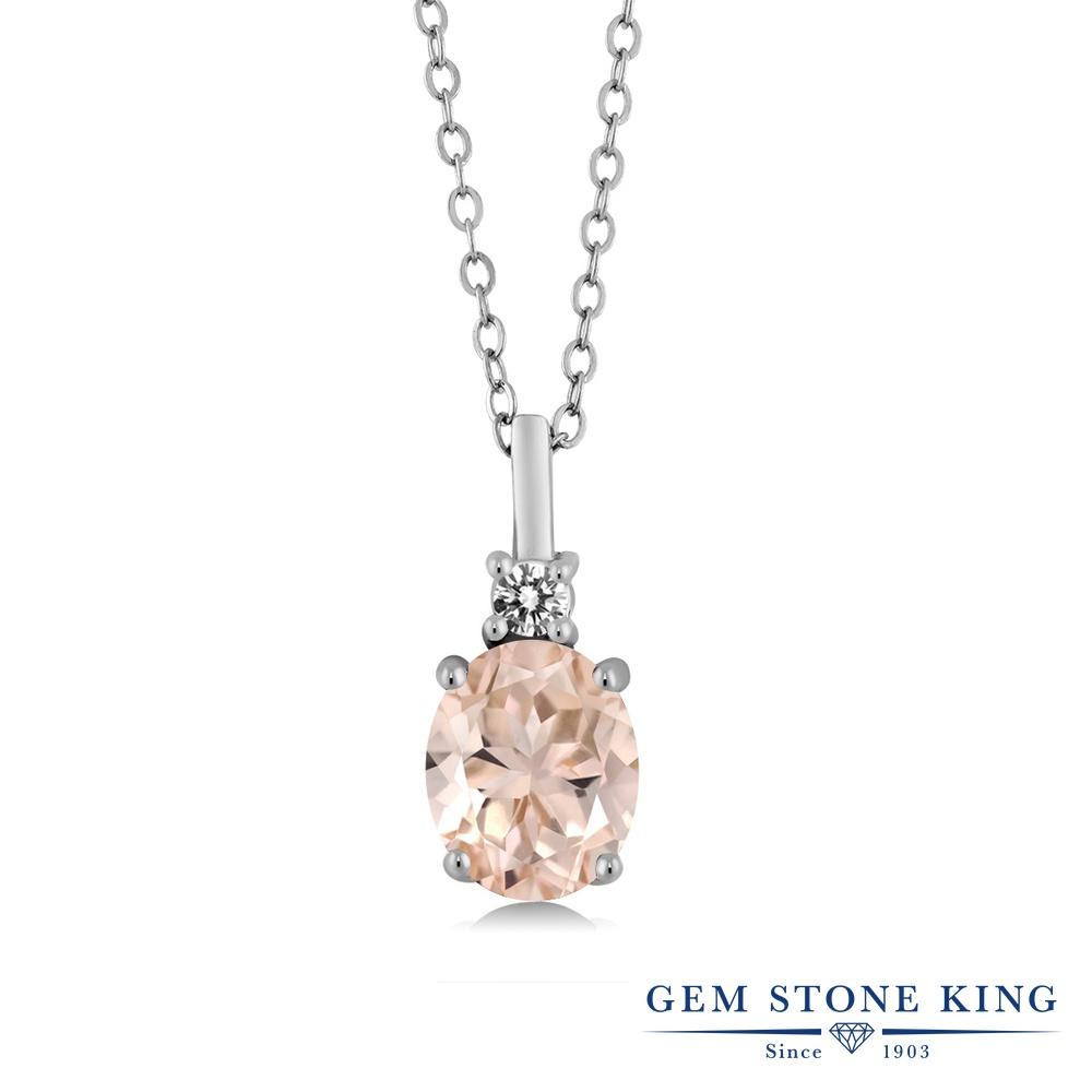 Gem Stone King 1.67カラット 天然 モルガナイト (ピーチ) 天然 ダイヤモンド シルバー925 ネックレス ペンダント レディース 大粒 シンプル 天然石 3月 誕生石 金属アレルギー対応 誕生日プレゼント