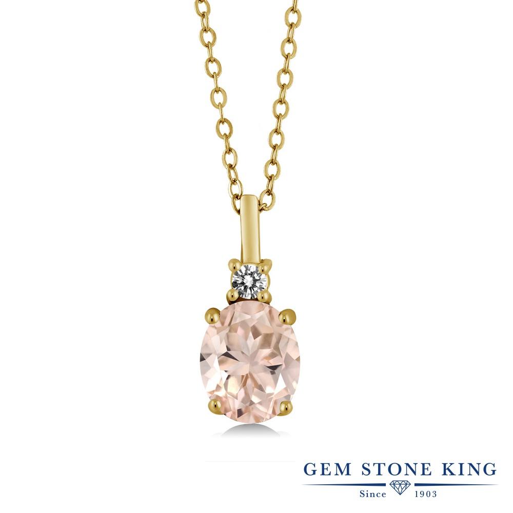 Gem Stone King 1.67カラット 天然 モルガナイト (ピーチ) 天然 ダイヤモンド シルバー925 イエローゴールドコーティング ネックレス ペンダント レディース 大粒 シンプル 天然石 3月 誕生石 金属アレルギー対応 誕生日プレゼント