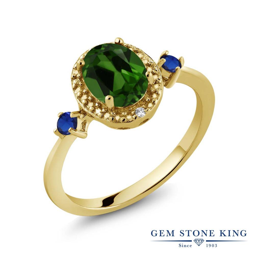 Gem Stone King 1.31カラット 天然 クロムダイオプサイド ダイヤモンド 指輪 リング レディース シルバー925 イエローゴールド 加工 大粒 ヘイロー 天然石 金属アレルギー対応