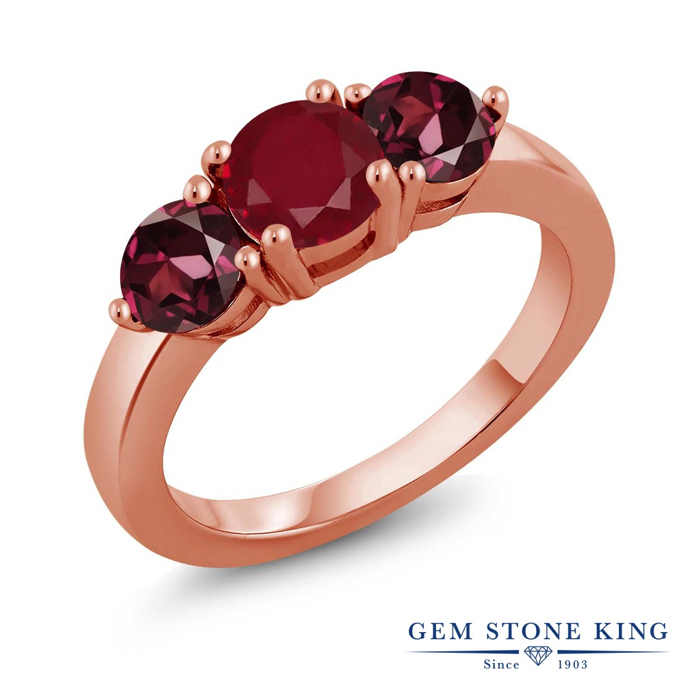 【10%OFF】 Gem Stone King 2.33カラット 天然 ルビー ロードライトガーネット 指輪 リング レディース シルバー925 ピンクゴールド 加工 大粒 シンプル スリーストーン 天然石 7月 誕生石 クリスマスプレゼント 女性 彼女 妻 誕生日
