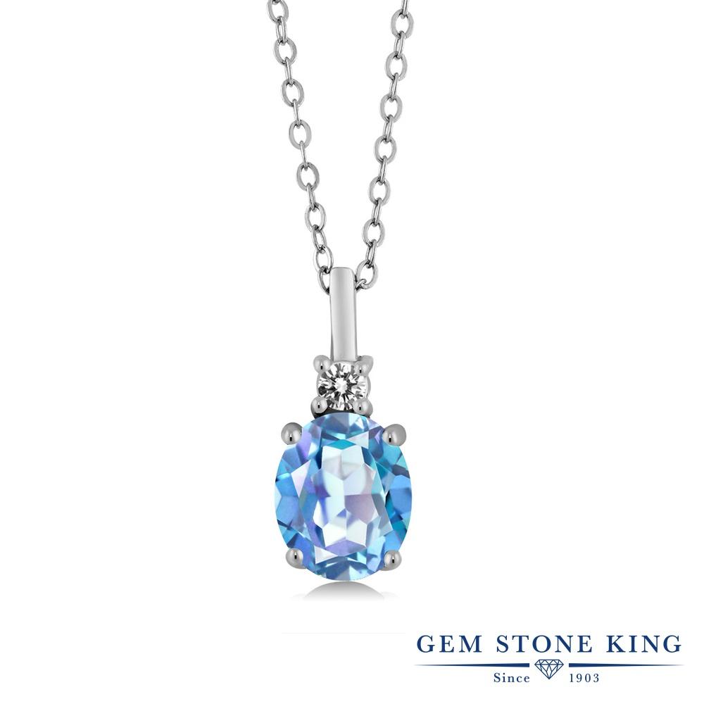 Gem Stone King 2.37カラット 天然 ミスティッククォーツ (ミレニアムブルー) 天然 ダイヤモンド シルバー925 ネックレス ペンダント レディース 大粒 シンプル 天然石 金属アレルギー対応 誕生日プレゼント